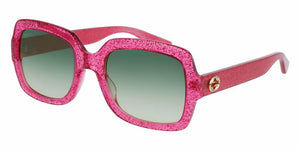 Front and Side View of Gucci Women's Sunglasses - GG0036S-007 54 SHINY FUCHSIA HOT PINK PURPLE GLITTER SHADED GREEN NYLON Acetate, Optyl