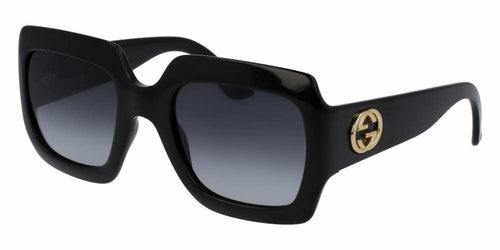 Front and Side View of Gucci Women's Sunglasses - GG0053S-001 54 SHINY BLACK SHADED DARK GREY GG 3826/S NYLON Optyl