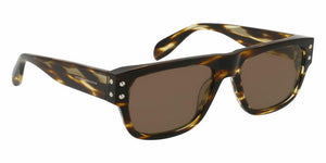 Front View of Alexander McQueen Men's Sunglasses - AM0069S-002 54 SHINY CLASSIC HAVANA AVANA SOLID BROWN CR 39 Acetate