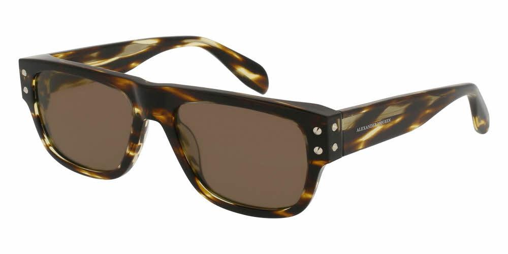 Angled View of Alexander McQueen Men's Sunglasses - AM0069S-002 54 SHINY CLASSIC HAVANA AVANA SOLID BROWN CR 39 Acetate