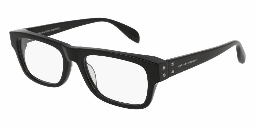 Front and Side View of Alexander McQueen Unisex Eyeglasses - AM0070O-001 53 BLACK SHINY TRANSPARENT Acetate