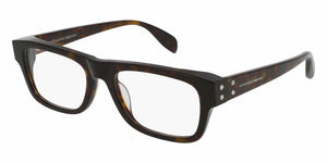 Front and Side View of Alexander McQueen Unisex Eyeglasses - AM0070O-002 53 SHINY CLASSIC HAVANA AVANA TRANSPARENT Acetate