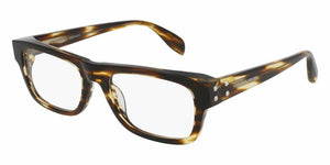 Front and Side View of Alexander McQueen Unisex Eyeglasses - AM0070O-004 53 SHINY BROWN STRIPED HAVANA AVANA TRANSPARENT Acetate