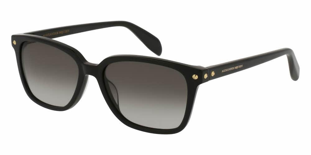 Front and Side View of Alexander McQueen Unisex Sunglasses - AM0071S-001 53 SHINY BLACK GRADIENT GREY CR 39 Acetate