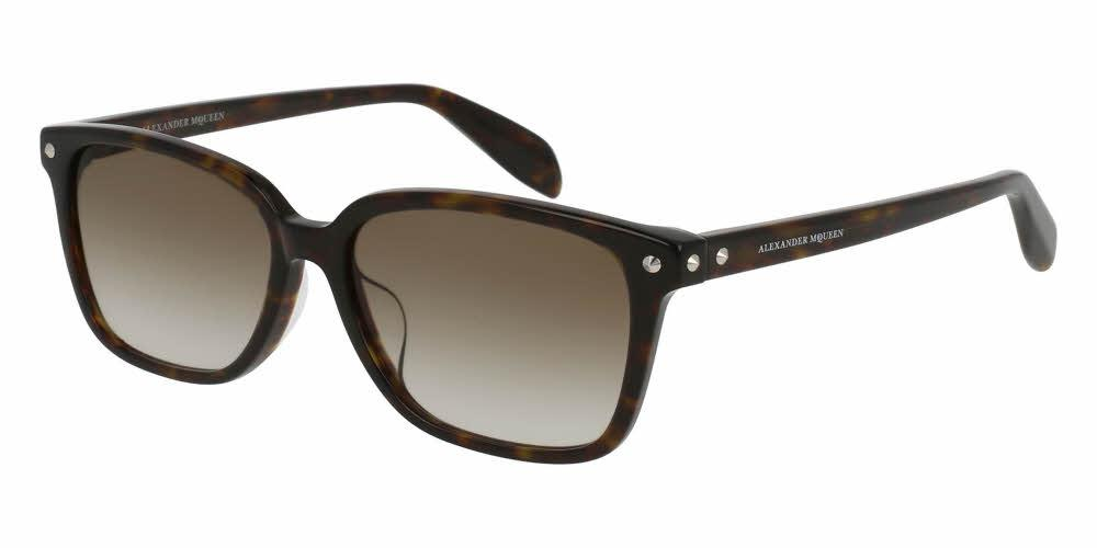 Angled View of Alexander McQueen Unisex Sunglasses - AM0071SA-002 54 SHINY CLASSIC HAVANA AVANA GRADIENT BROWN CR 39 Acetate