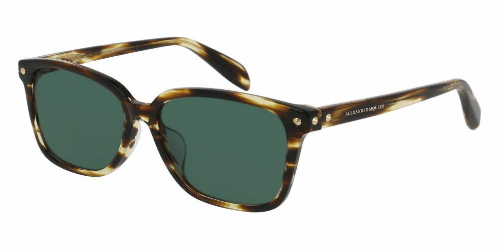 Angled View of Alexander McQueen Unisex Sunglasses - AM0071SA-003 54 SHINY BROWN STRIPED HAVANA AVANA SOLID GREEN CR 39 Acetate