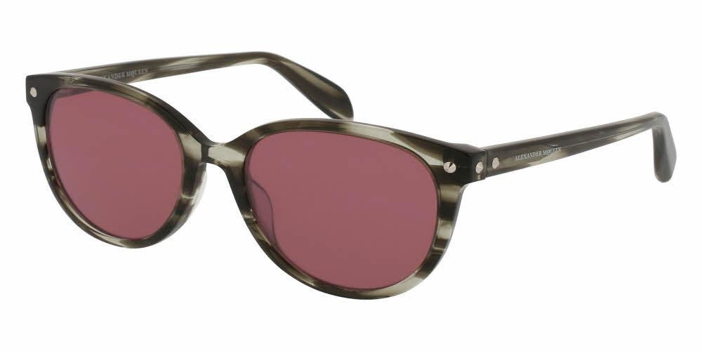 Angled View of Alexander McQueen Women's Sunglasses - AM0072S-003 54 SHINY STRIPED HAVANA AVANA GREY SOLID PINK CR 39 Acetate