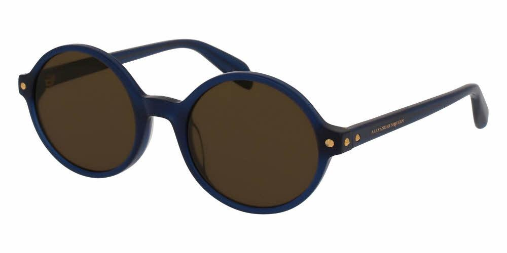 Angled View of Alexander McQueen Women's Sunglasses - AM0073S-004 52 SHINY MILKY BLUE SOLID BROWN NYLON Acetate