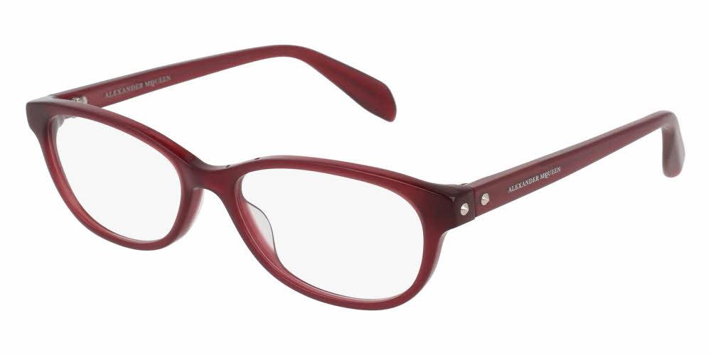 Angled View of Alexander McQueen Women's Eyeglasses - AM0074O-003 52 SHINY MILKY BURGUNDY RED TRANSPARENT Acetate