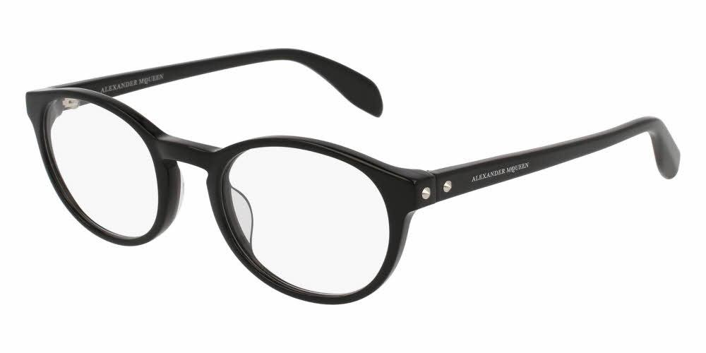 Front and Side View of Alexander McQueen Unisex Eyeglasses - AM0075O-001 49 BLACK SHINY TRANSPARENT Acetate