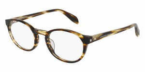 Front and Side View of Alexander McQueen Unisex Eyeglasses - AM0075O-004 49 SHINY BROWN STRIPED HAVANA AVANA TRANSPARENT Acetate