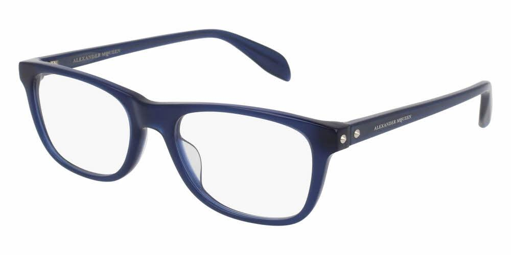 Angled View of Alexander McQueen Unisex Eyeglasses - AM0076O-004 53 SHINY MILKY BLUE TRANSPARENT Acetate