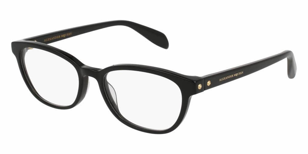 Front and Side View of Alexander McQueen Women's Eyeglasses - AM0077O-001 51 BLACK SHINY TRANSPARENT Acetate