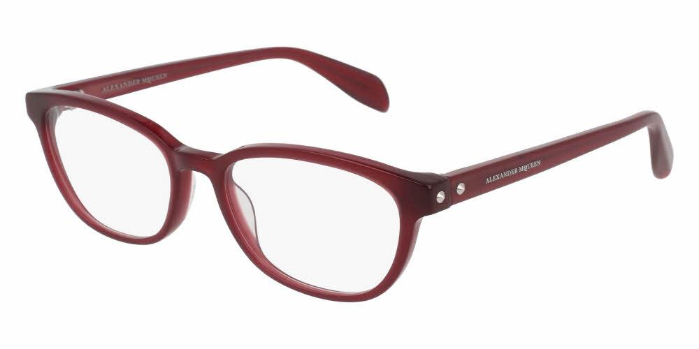 Angled View of Alexander McQueen Women's Eyeglasses - AM0077O-003 51 SHINY MILKY BURGUNDY RED TRANSPARENT Acetate