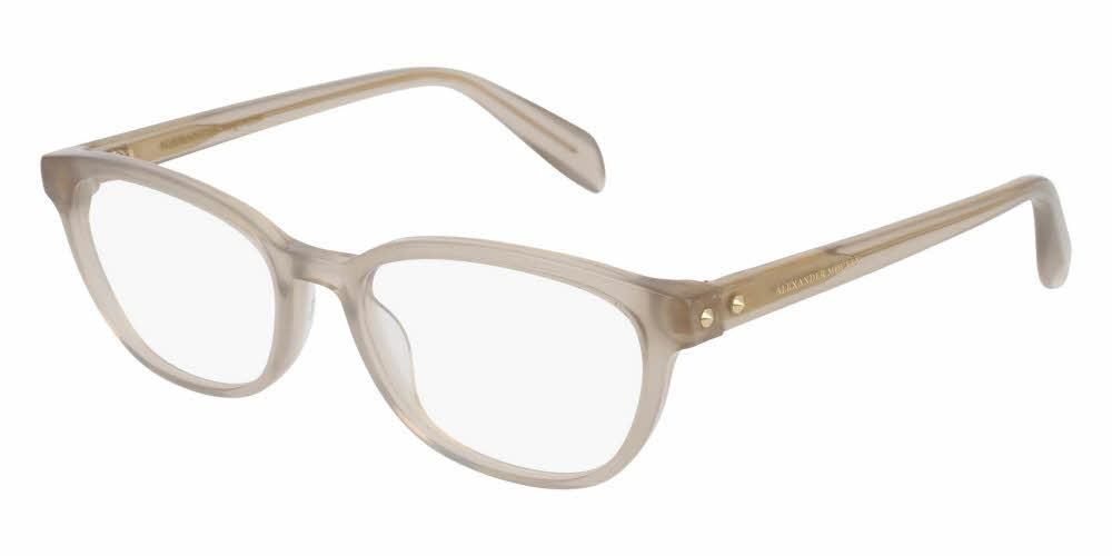 Angled View of Alexander McQueen Women's Eyeglasses - AM0077O-004 51 SHINY MILKY GREY TRANSPARENT Acetate