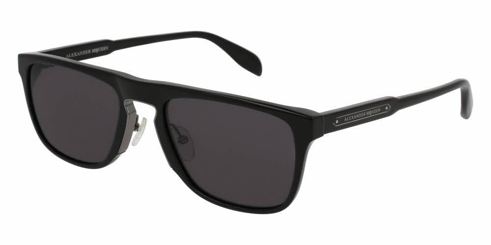 Front and Side View of Alexander McQueen Men's Sunglasses - AM0078S-001 56 SHINY DARK RUTHENIUM SOLID GREY CR 39 Acetate, Metal