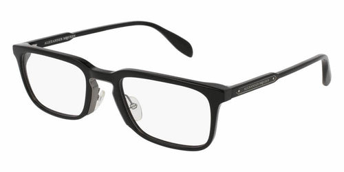 Front and Side View of Alexander McQueen Men's Eyeglasses - AM0079O-001 54 SHINY DARK RUTHENIUM TRANSPARENT Acetate, Metal
