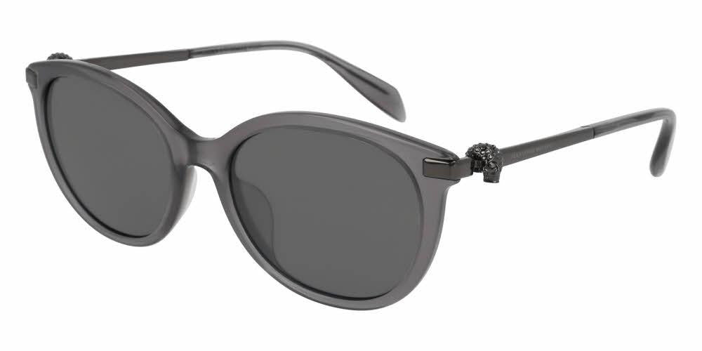 Angled View of Alexander McQueen Women's Sunglasses - AM0083SA-004 54 SHINY MILKY DARK GREY MIRROR SILVER NYLON Acetate, Metal