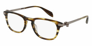 Angled View of Alexander McQueen Unisex Eyeglasses - AM0085O-003 49 SHINY BROWN STRIPED HAVANA AVANA RUTHENIUM PLATINUM SILVER TRANSPARENT Acetate, Metal
