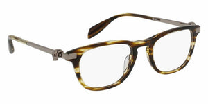 Front View of Alexander McQueen Unisex Eyeglasses - AM0085O-003 49 SHINY BROWN STRIPED HAVANA AVANA RUTHENIUM PLATINUM SILVER TRANSPARENT Acetate, Metal