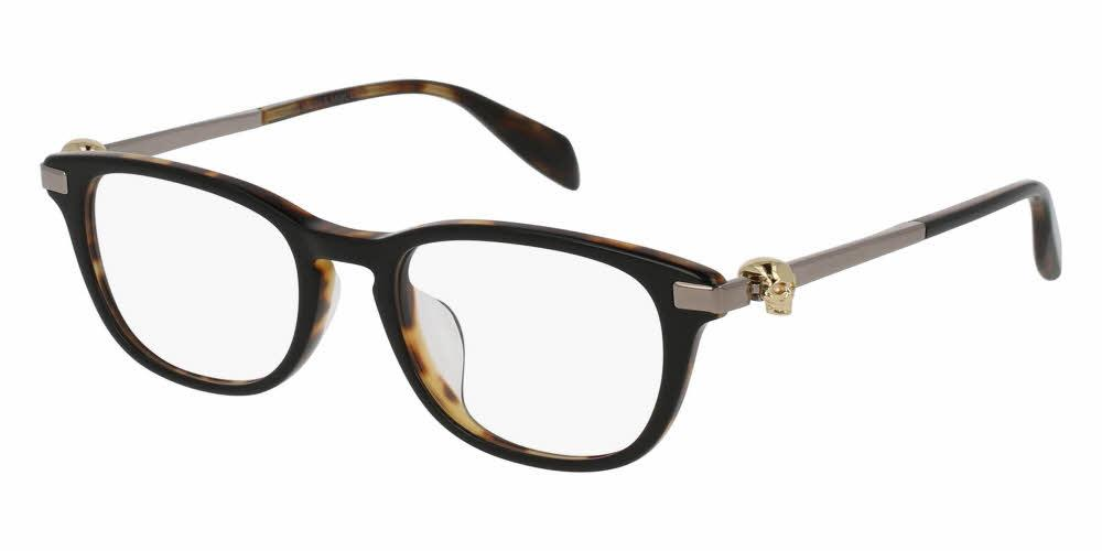Front and Side View of Alexander McQueen Unisex Eyeglasses - AM0085OA-001 50 SHINY BLACK HAVANA GOLD TRANSPARENT Acetate, Metal