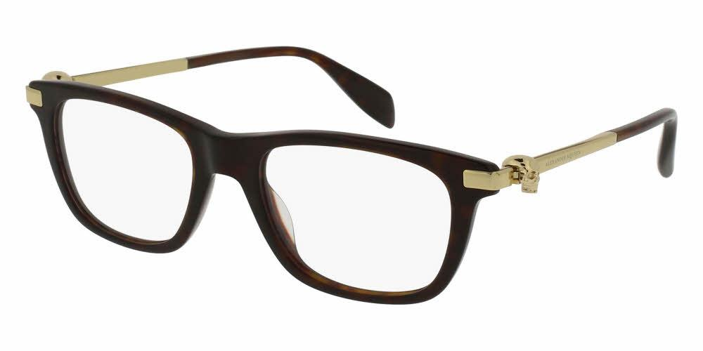 Angled View of Alexander McQueen Unisex Eyeglasses - AM0086O-002 51 SHINY CLASSIC HAVANA AVANA GOLD TRANSPARENT Acetate, Metal
