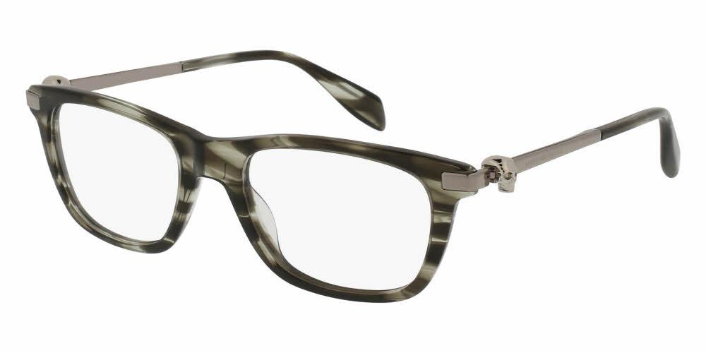 Angled View of Alexander McQueen Unisex Eyeglasses - AM0086O-004 51 SHINY GREY STRIPED HAVANA AVANA SILVER TRANSPARENT Acetate, Metal