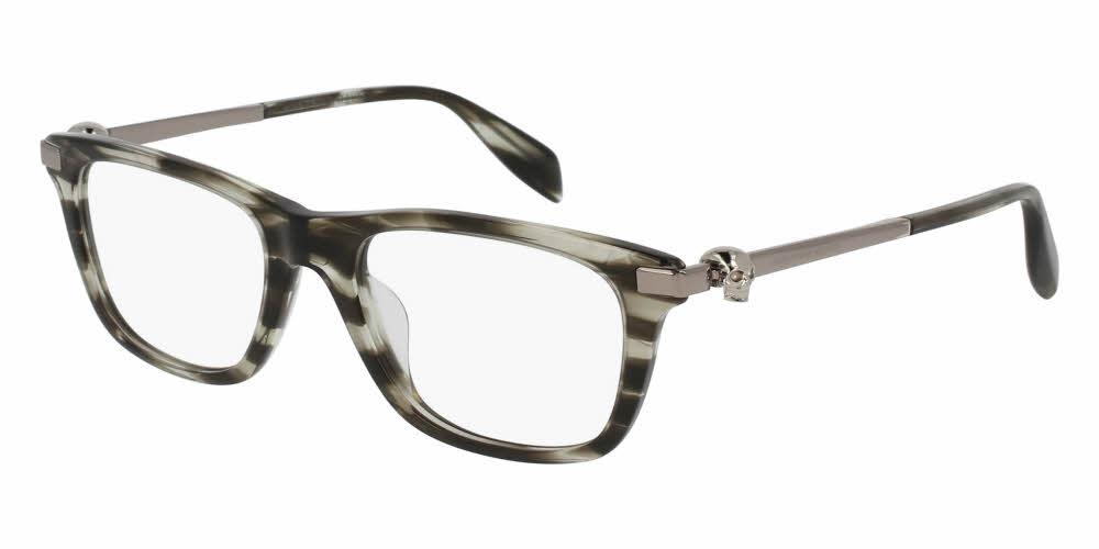 Angled View of Alexander McQueen Unisex Eyeglasses - AM0086OA-004 52 SHINY GREY STRIPED HAVANA AVANA SILVER TRANSPARENT Acetate, Metal