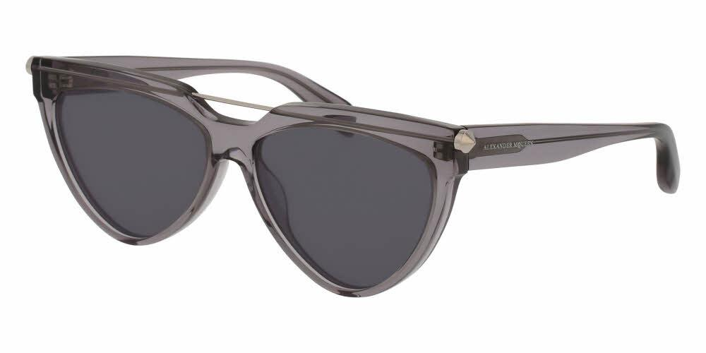 Angled View of Alexander McQueen Unisex Sunglasses - AM0087S-002 58 SHINY TRANSPARENT SILVER PIERCING BAR SOLID GREY CR 39 Acetate, Metal