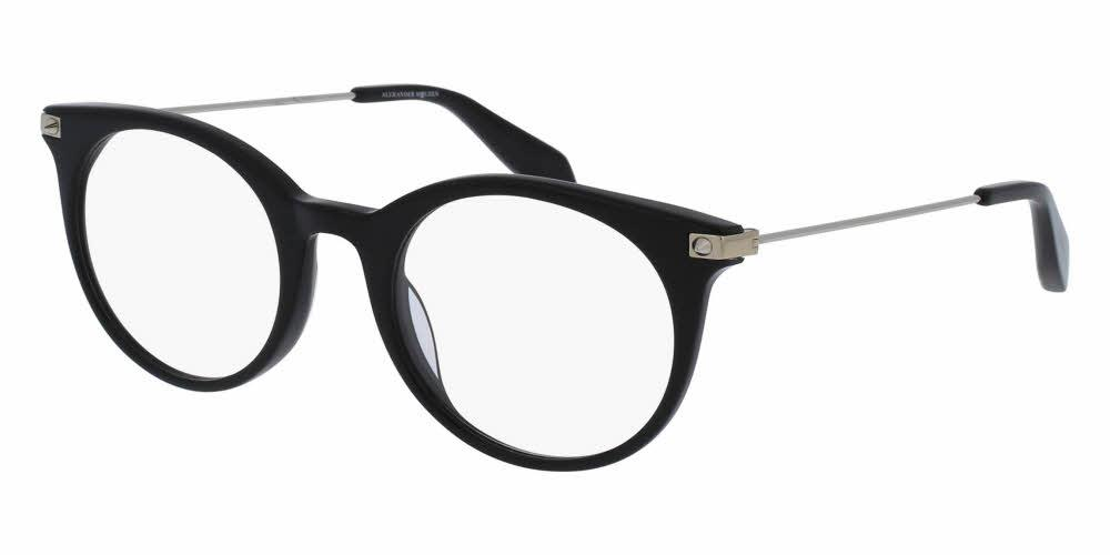 Front and Side View of Alexander McQueen Unisex Eyeglasses - AM0090O-001 49 SHINY BLACK TRANSPARENT Acetate, Metal