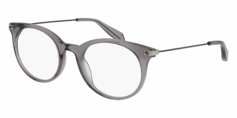 Angled View of Alexander McQueen Unisex Eyeglasses - AM0090O-002 49 SHINY TRANSPARENT GREY Acetate, Metal