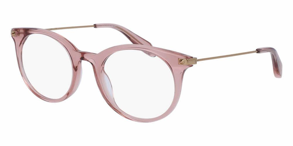Angled View of Alexander McQueen Unisex Eyeglasses - AM0090O-003 49 SHINY TRANSPARENT PINK Acetate, Metal