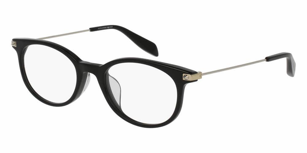 Front and Side View of Alexander McQueen Unisex Eyeglasses - AM0093OA-001 50 SHINY BLACK TRANSPARENT Acetate, Metal