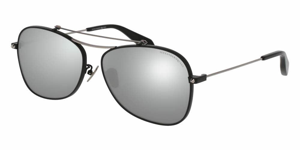 Angled View of Alexander McQueen Unisex Sunglasses - AM0096SA-002 60 SHINY MATTE BLACK RUTHENIUM PIERCING BAR SOLID GREY FLASH MIRROR SILVER NYLON Metal, Acetate
