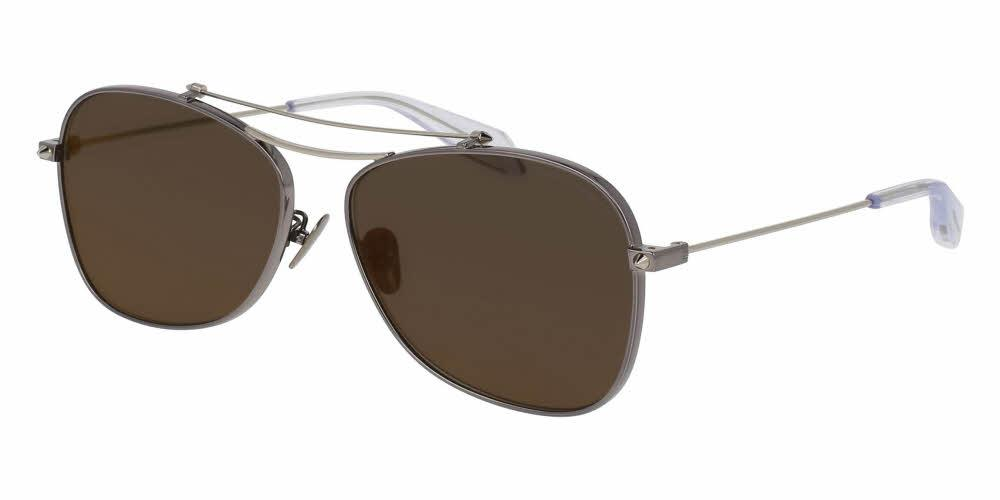Angled View of Alexander McQueen Unisex Sunglasses - AM0096SA-006 60 SHINY DARK RUTHENIUM SILVER PIERCING BAR PLATINUM CRYSTAL SOLID GREY MIRROR RED NYLON