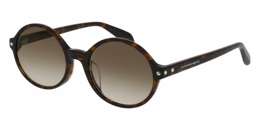 Angled View of Alexander McQueen Women's Sunglasses - AM0073SA-002 53 SHINY CLASSIC HAVANA AVANA GRADIENT BROWN NYLON Acetate
