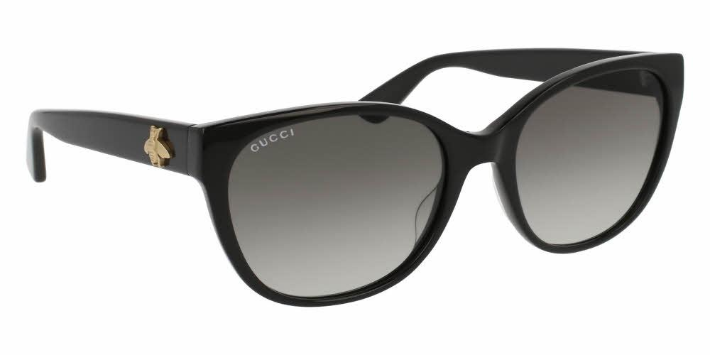 bc73271c7b057 Front and Side View of Gucci Women s Sunglasses - GG0097S-001 56 SHINY  BLACK GRADIENT