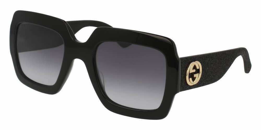 Front and Side View of Gucci Women's Sunglasses - GG0102S-001 54 SHINY BLACK GLITTER GRADIENT GREY NYLON Acetate, Fabric, Rubber