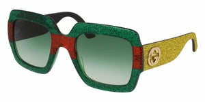 Front and Side View of Gucci Women's Sunglasses - GG0102S-006 54 SHINY RED MULTI-COLOR GLITTER GRADIENT GREEN NYLON Acetate, Fabric, Rubber