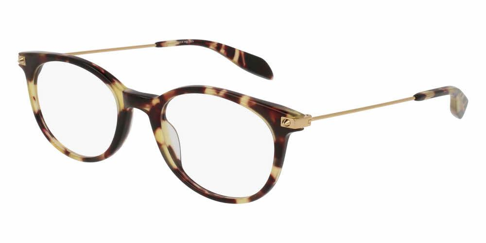 Angled View of Alexander McQueen Unisex Eyeglasses - AM0093O-004 50 SHINY SPOTTED HAVANA AVANA TRANSPARENT Acetate, Metal