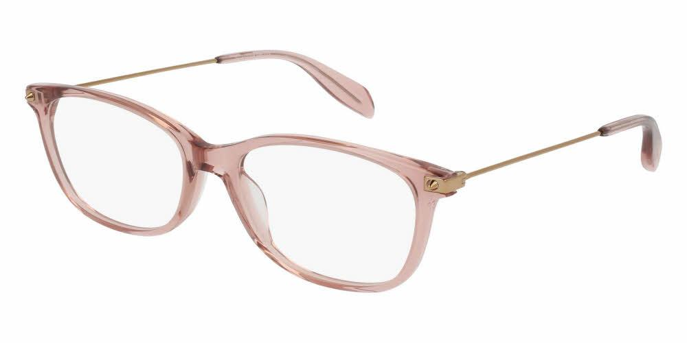 Angled View of Alexander McQueen Unisex Eyeglasses - AM0094O-003 53 SHINY TRANSPARENT PINK Acetate, Metal