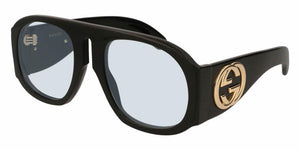 Front and Side View of Gucci Women's Sunglasses - GG0152S-001 57 SHINY BLACK BLUE SOLID LIGHT AZURE NYLON Acetate
