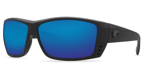 Angled Front View of Costa Del Mar Sunglasses - Cat Cay Blackout Blue Mirror 580P AT 01 OBMP