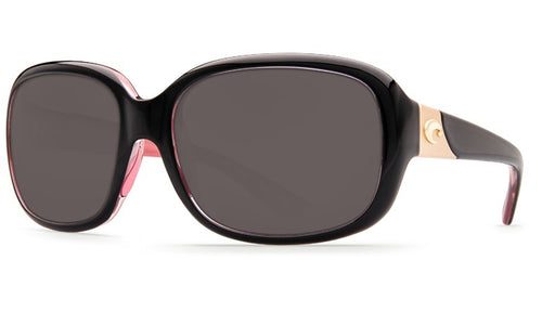 Angled Front View of Costa Del Mar Sunglasses - Gannet Shiny Black Hibiscus Frame Gray 580P GNT 132 OGP