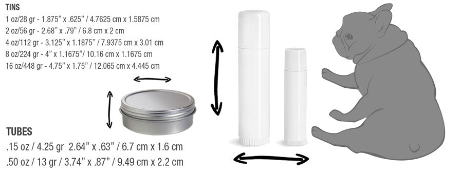 NOSE BUTTER CONTAINER SIZES