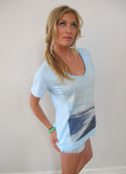 """Black Sand Beach"" Ocean V-Neck Tee by Ash Francomb"