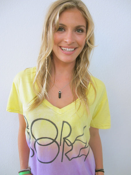 """Bora Bora"" V Neck Tee in Orchid by Ash Francomb"