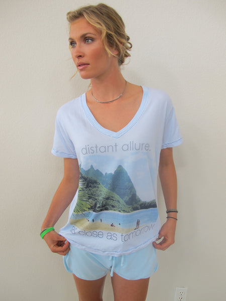 """Distant Allure"" V-Neck Tshirt shown in Ocean by Ash Francomb"