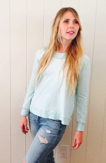 ASH Long Sleeve Crewneck Sweatshirt in Pacific Blue by Ash Francomb