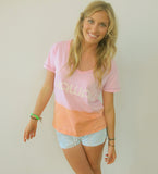 """Hawaii"" Sunset Dip Dye V-Neck Tee by Ash Francomb"